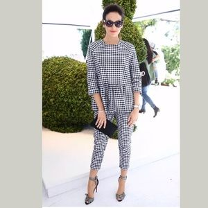 Victoria Beckham For Target Navy Gingham Blouse